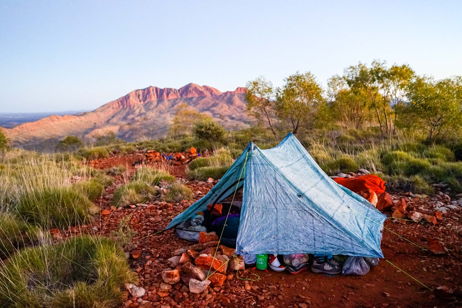 From Hilltop Lookout, on section 11 of the Larapinta Trail, you can watch the sun rise onto Mount Sonder.