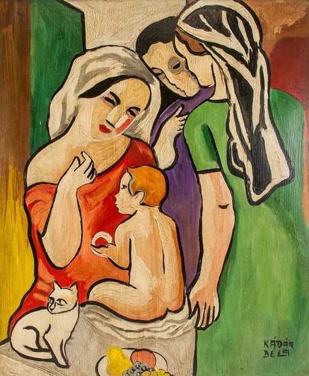 Béla Kádár, Hungarian, 1877- 1956, oil on board. #ittakesavillage #breastfeeding #postpartum