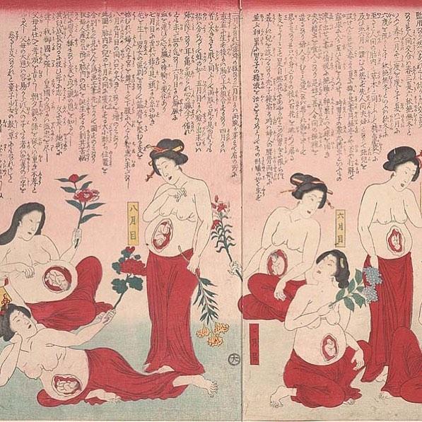 19th century Japanese Woodblock print of pregnant women holding flowers 🌺 🌸🌺 #birth #doula #sophosdoulas #pregnancy #matriarchy #flowerpower
