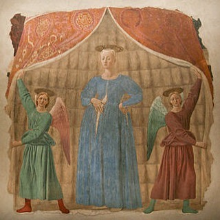 """Piero Della Francesca's """"Madonna del Parto"""" which translates to """"pregnant madonna."""" Saw this beauty in Tuscany when I was on a family vacation and our family renamed it """"pregnant virgin."""" Birth is miraculous it's true, but also there are very few depictions of the pregnant virgin. It's always postpartum bliss. 😉 #pregnantbelly"""