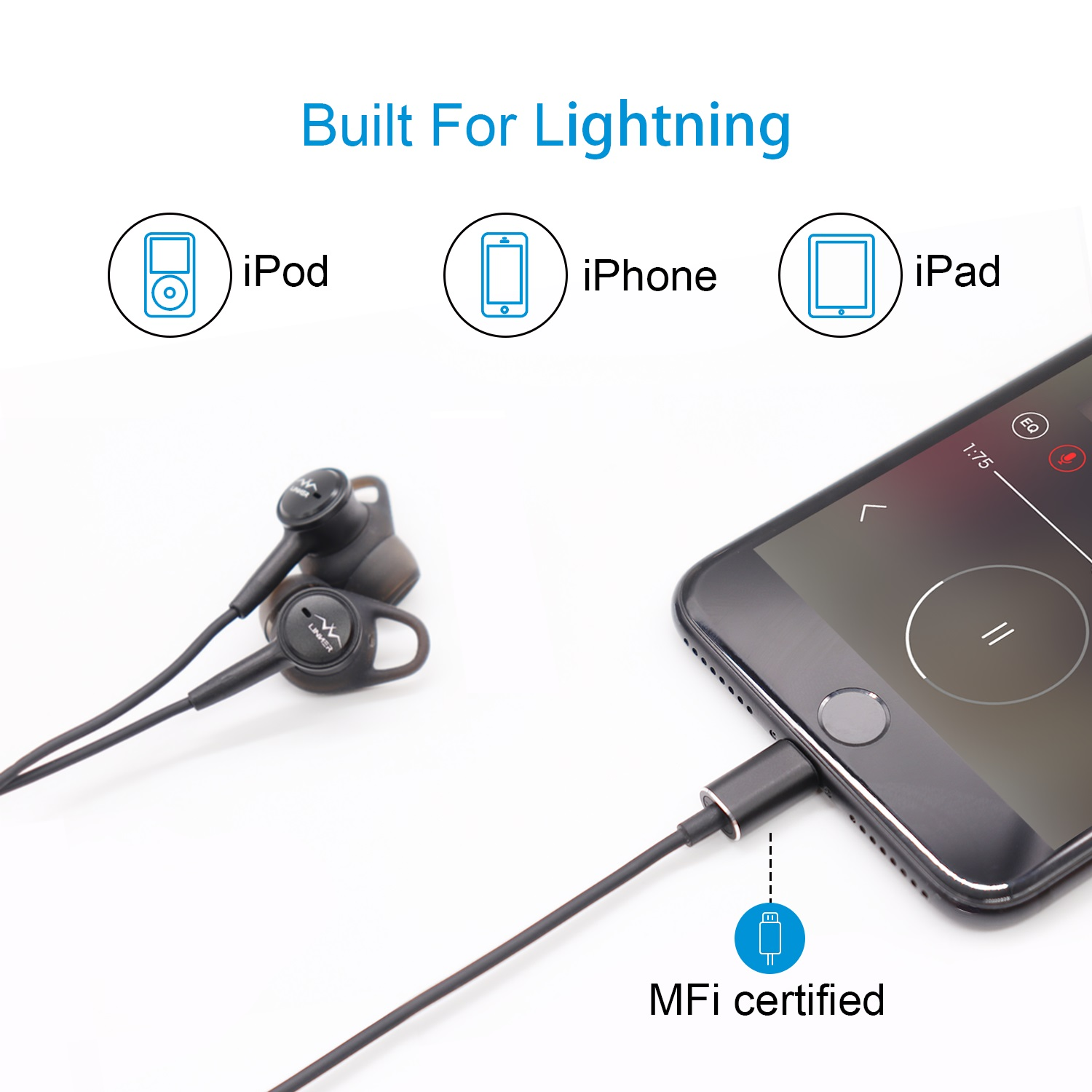 Powered by iPhone - Provided Apple MFi Certified. Powered by iPhone. Don't have to worry that a bulky battery or recharging will slow you down, simply plug in and go