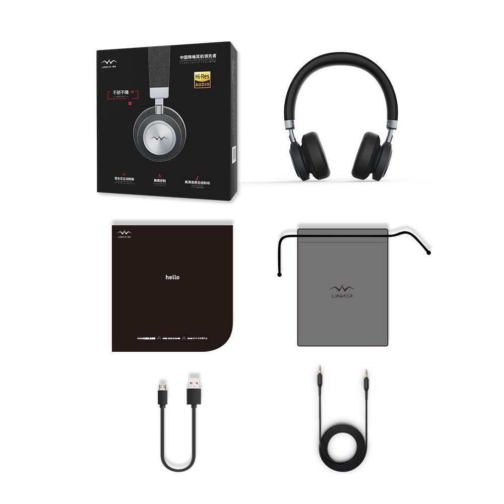 What's In the Box - 1 x Linner NC80 Active Noise Cancelling Wireless Headphones1 x USB Charging Cable1 x Audio Cable1 x Carry Pouch1 x User Guide