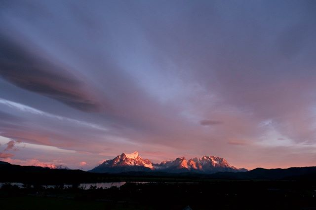 Sunrise at Torres del Paine National Park in Chile.