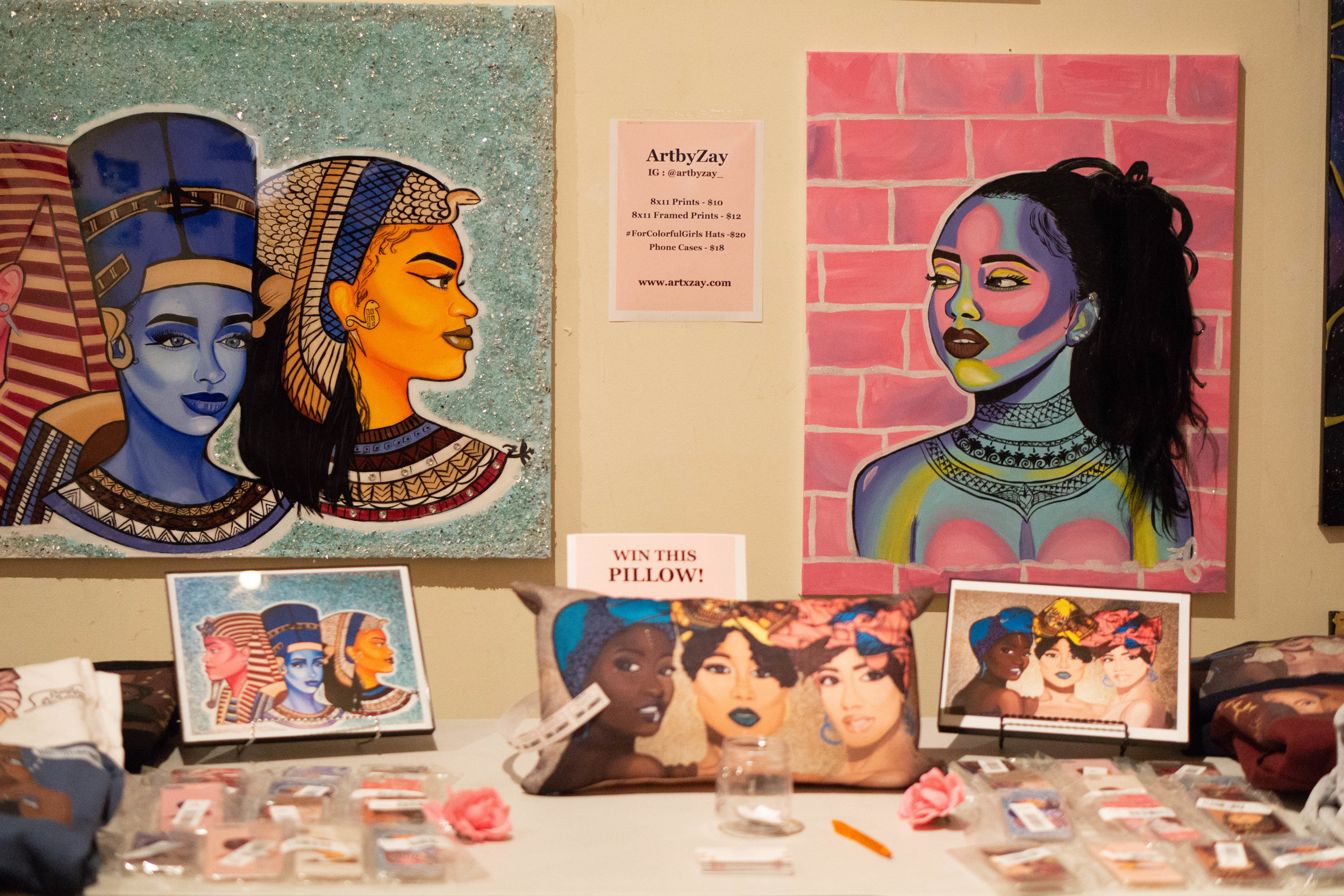 Artist @artbyzay_ showcases her artwork at Phenomenal Women in Philly.  via @malachizvchary