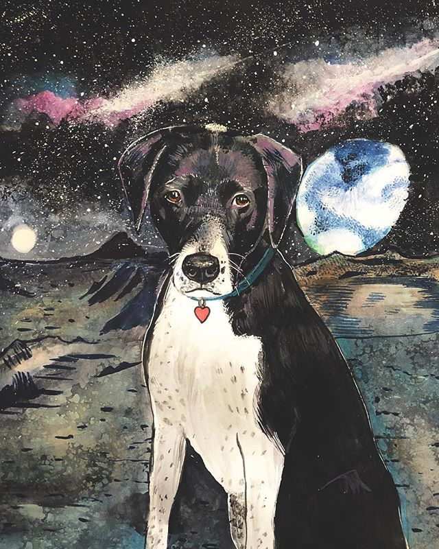 Happy holidays from galaxies beyond! 🚀. . . . . #Wildfriendshop #watercolorcustompetportrait
