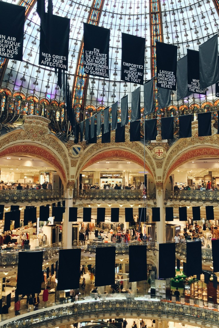 I took this photo at Galeries Lafayette in Paris. It is the ultimate 'religious' shopping experience.