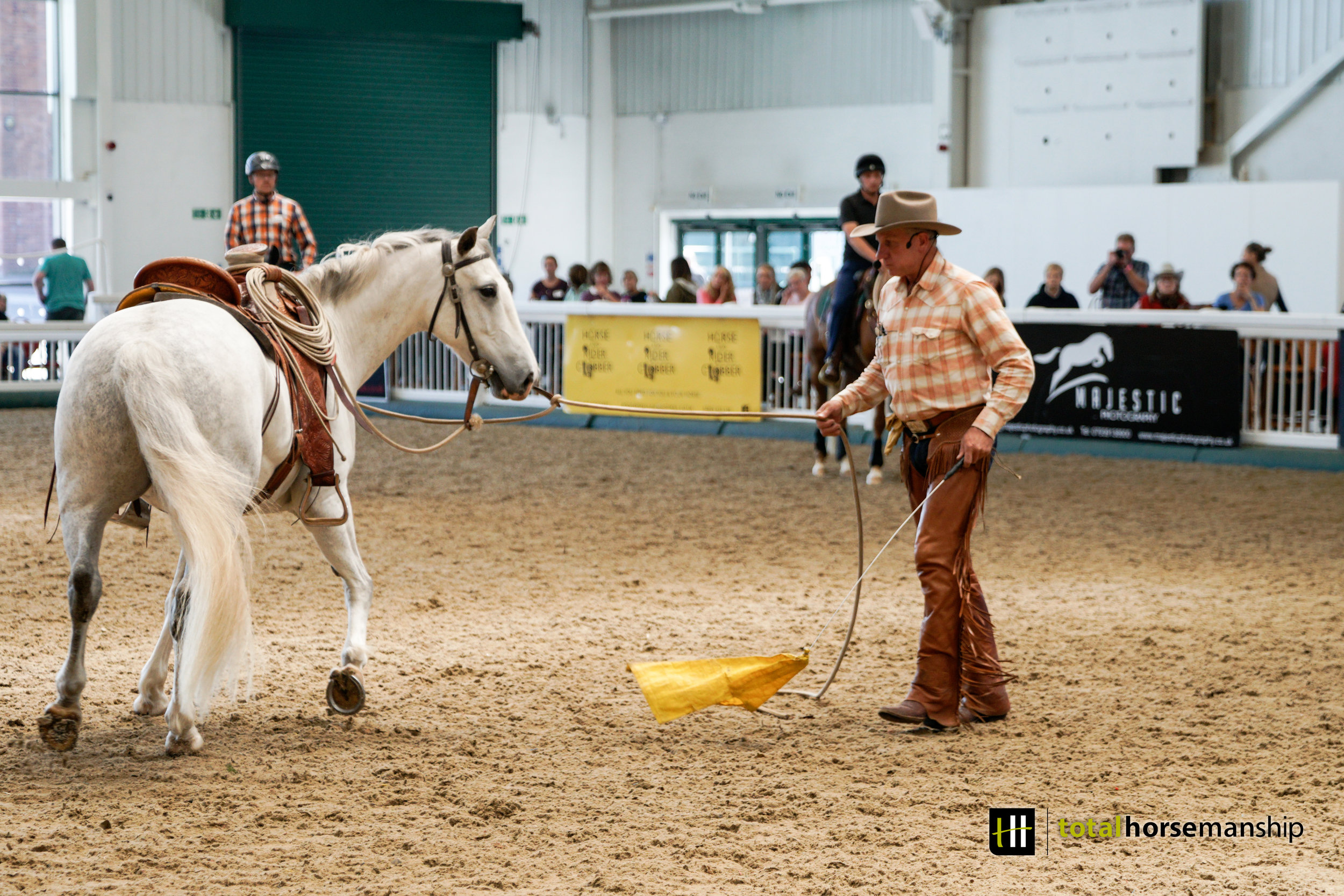 - Buck had two demo horses this year, Spider (a 17hh bay ISH gelding) for the morning class and Archie (a 15.2hh grey Welsh x Irish gelding) for the afternoon class. Both horses were unseen by Buck before the clinic and their progression over the three days was incredible to watch.