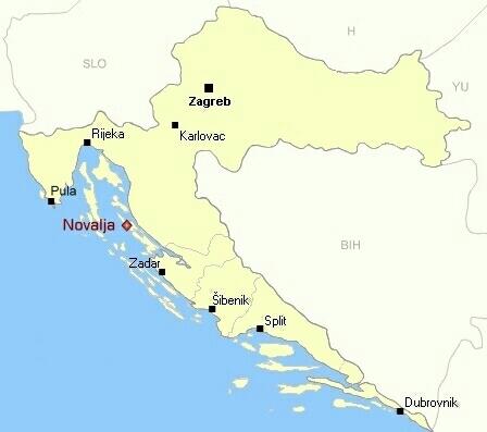 Ubicación de Novalja en Croacia