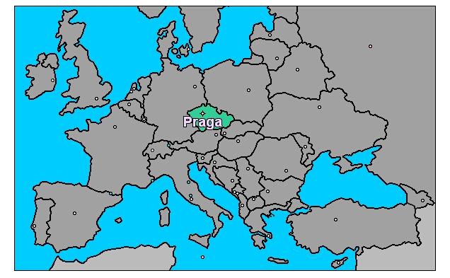 Ubicación de Praga en Europa