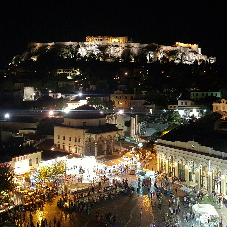 Centro de Atenas desde el bar terraza A for Athens