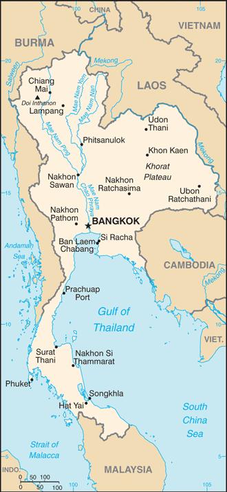 Localización de Tailandia