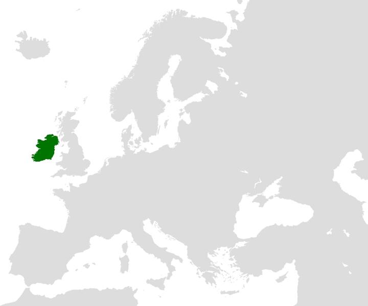 Location of the island of Ireland