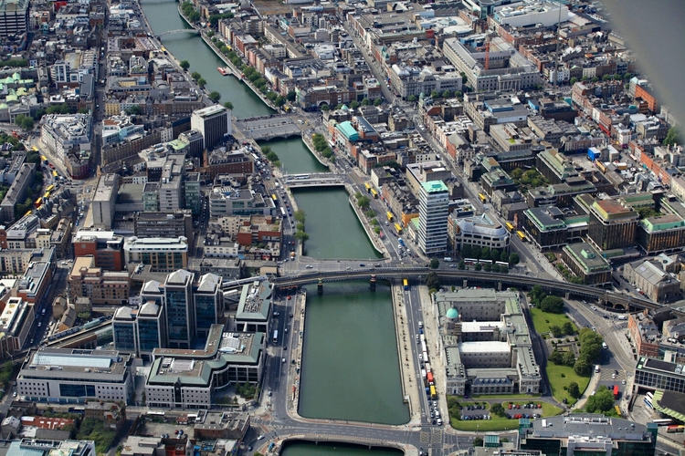 Dublin from above (river Liffey)