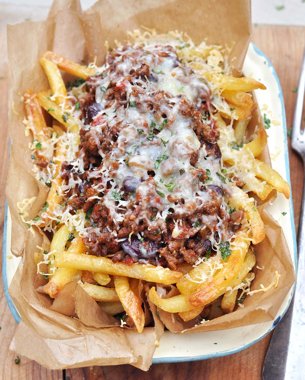Fries with Chili con Carne in the United States