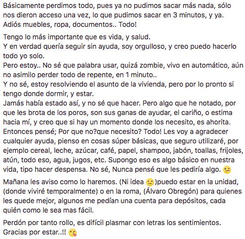 Relato de un afectado por el sismo en la Ciudad de México