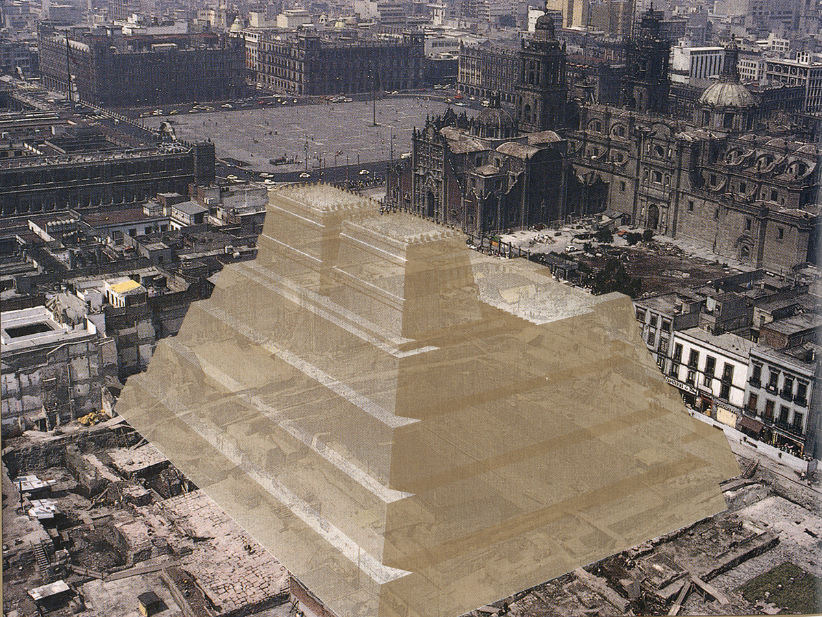 Templo Mayor location prior the Conquest of Mexico