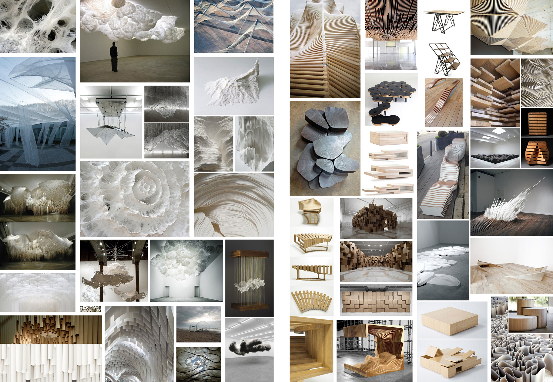 Visual research for suspended set element and transformable construction at the stage floor, various designers and artists