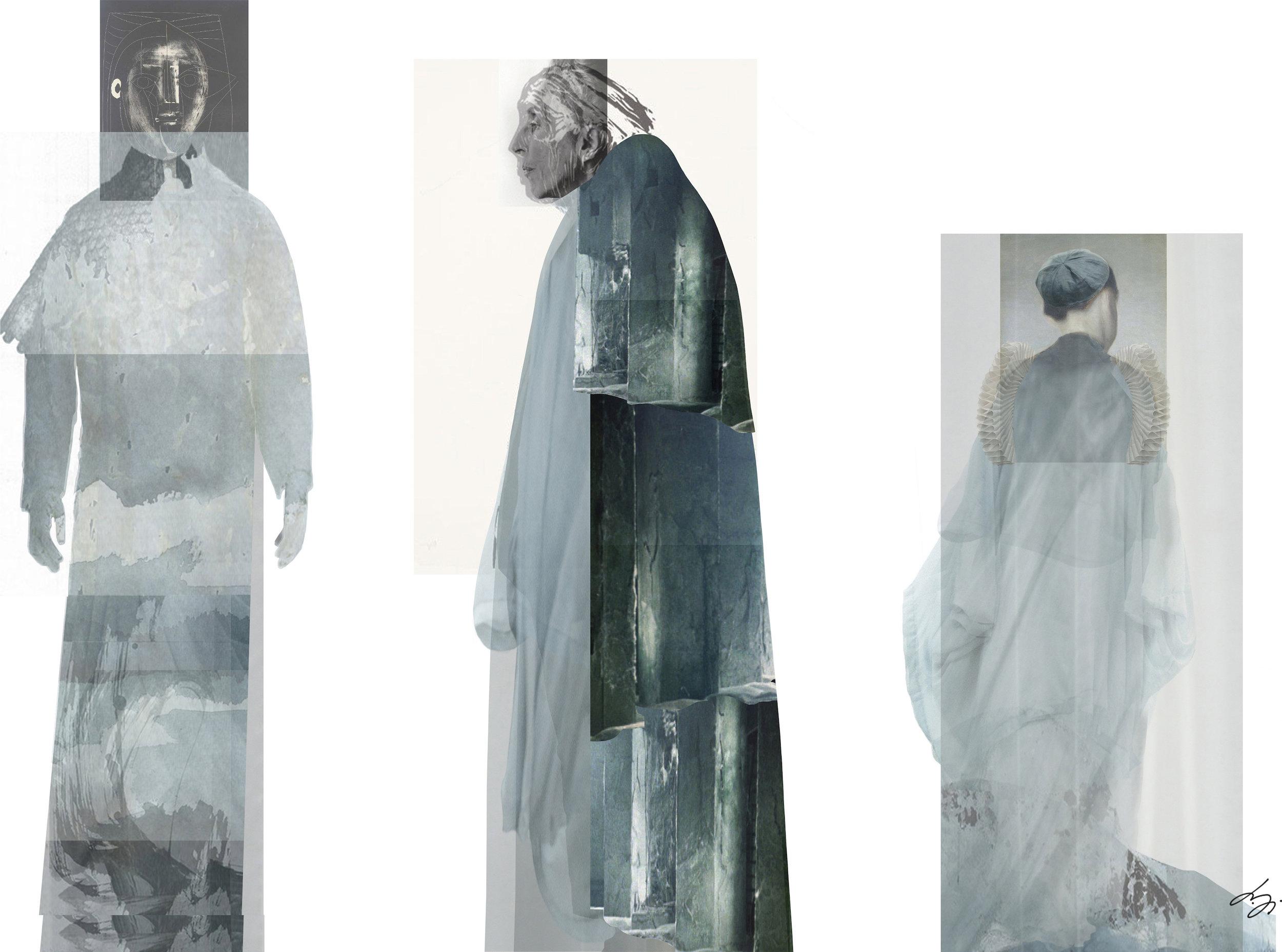 Costume collages (left to right) of Cerimon, Cloten, Iachimo, Imogen, Pericles, Prospero and Mamilius
