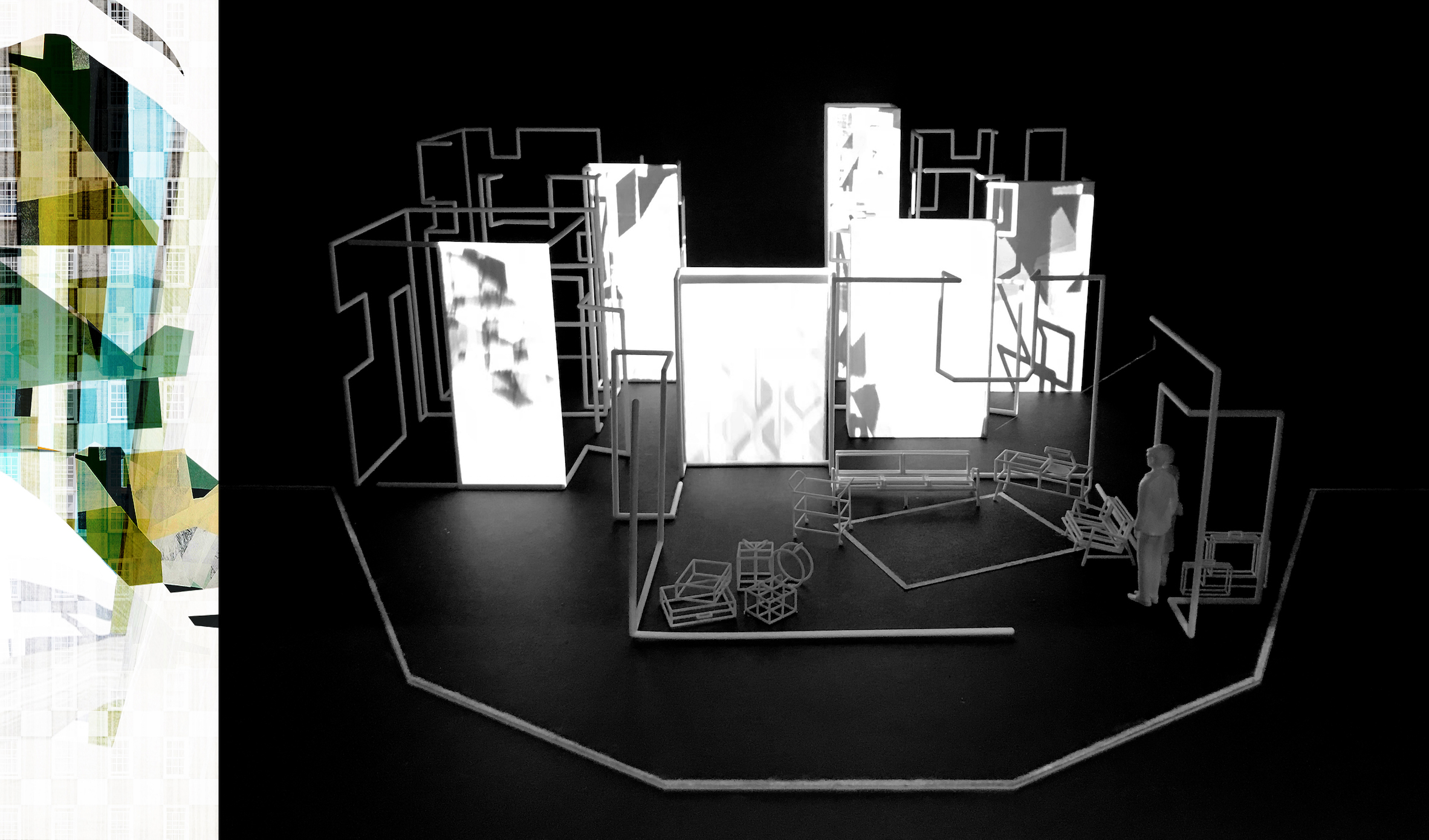 Collage and projection mapping onto 3D printed model box 1:25