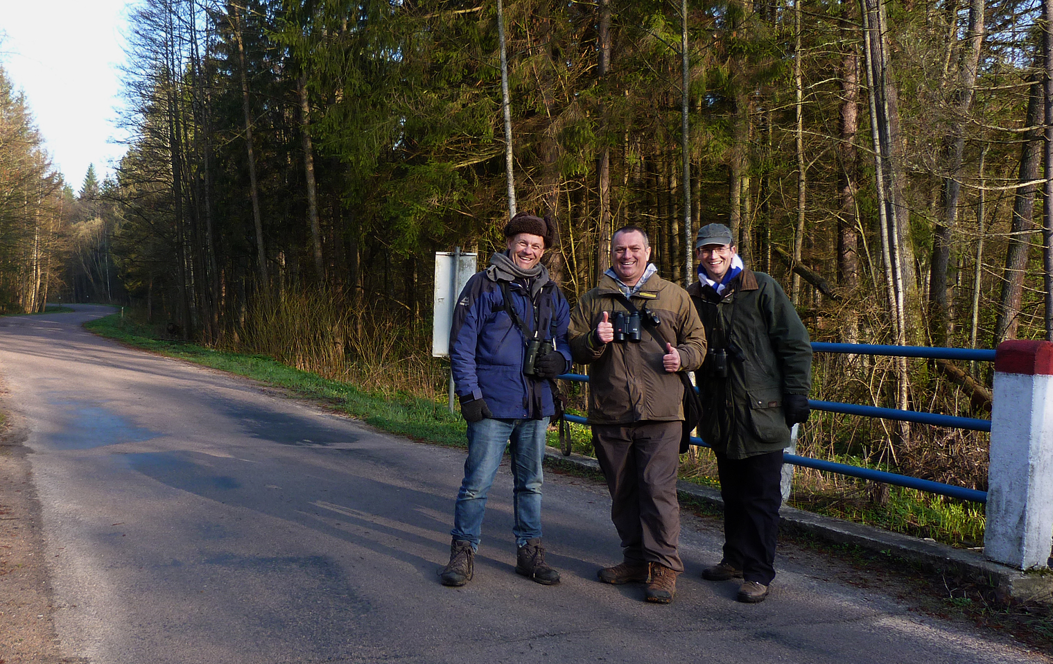 BUBO lads thrilled with the White-backed Woodpecker, the first tick of the trip!