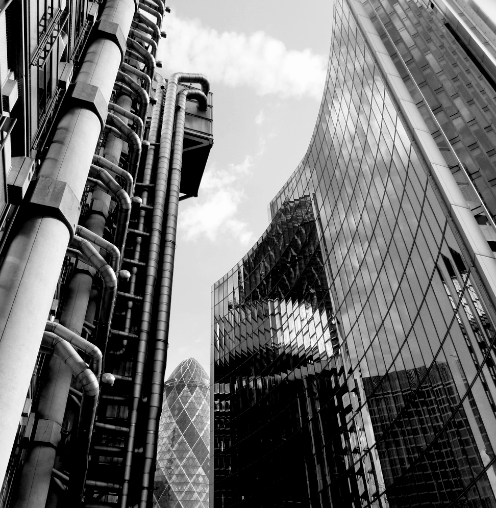 London's financial district in April