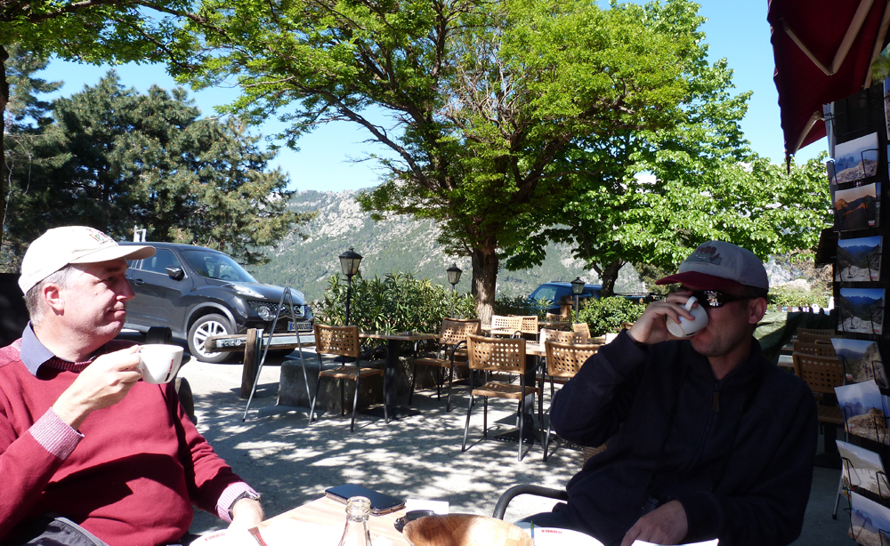 A well-earned coffee and pain au chocolat at the Chalet Restaurant