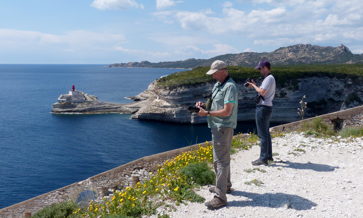 On the headland by Bonifacio Cemetery, looking out to Madonetta Lighthouse