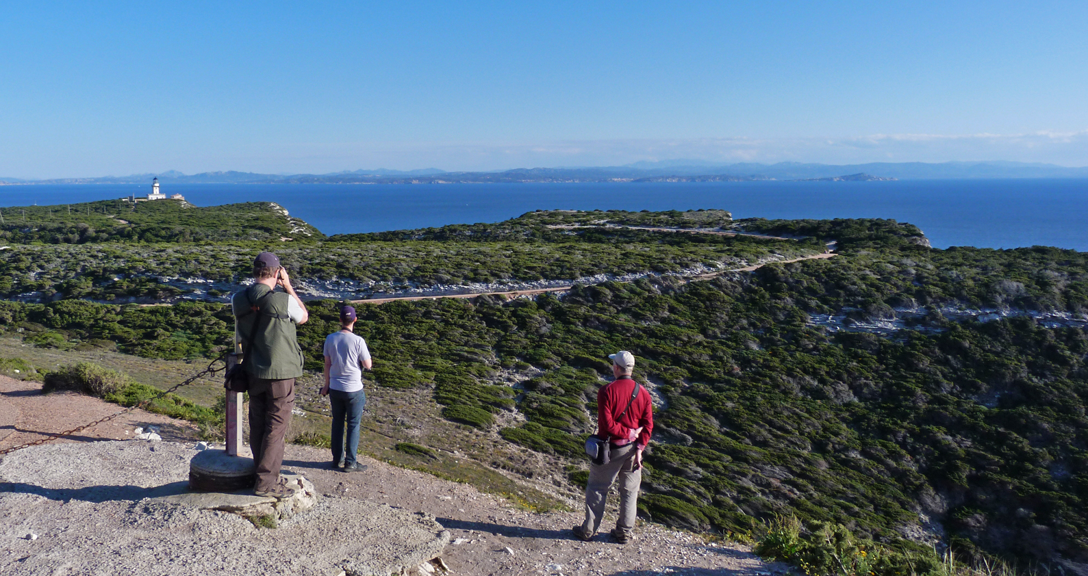 Back at the cliffs, looking over Bonifacio Strait, with Sardinia in the background