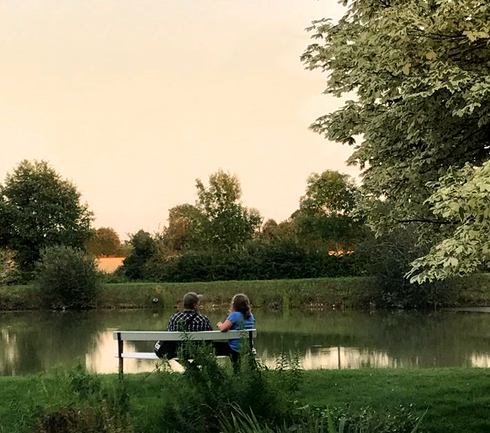 Anais and me discussing the finer points of damselfly ID by the cottage pond