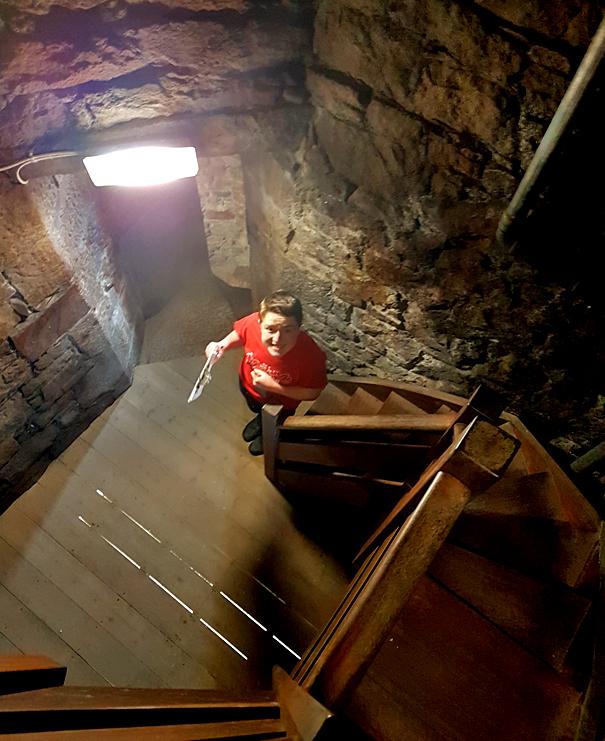 Descending the tower steps