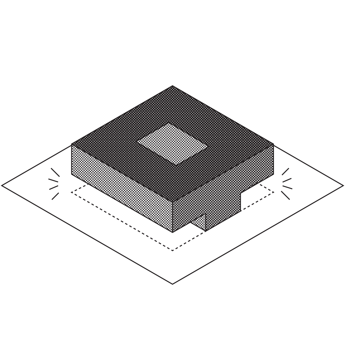 Proposal : office building lifted up + new common spaces