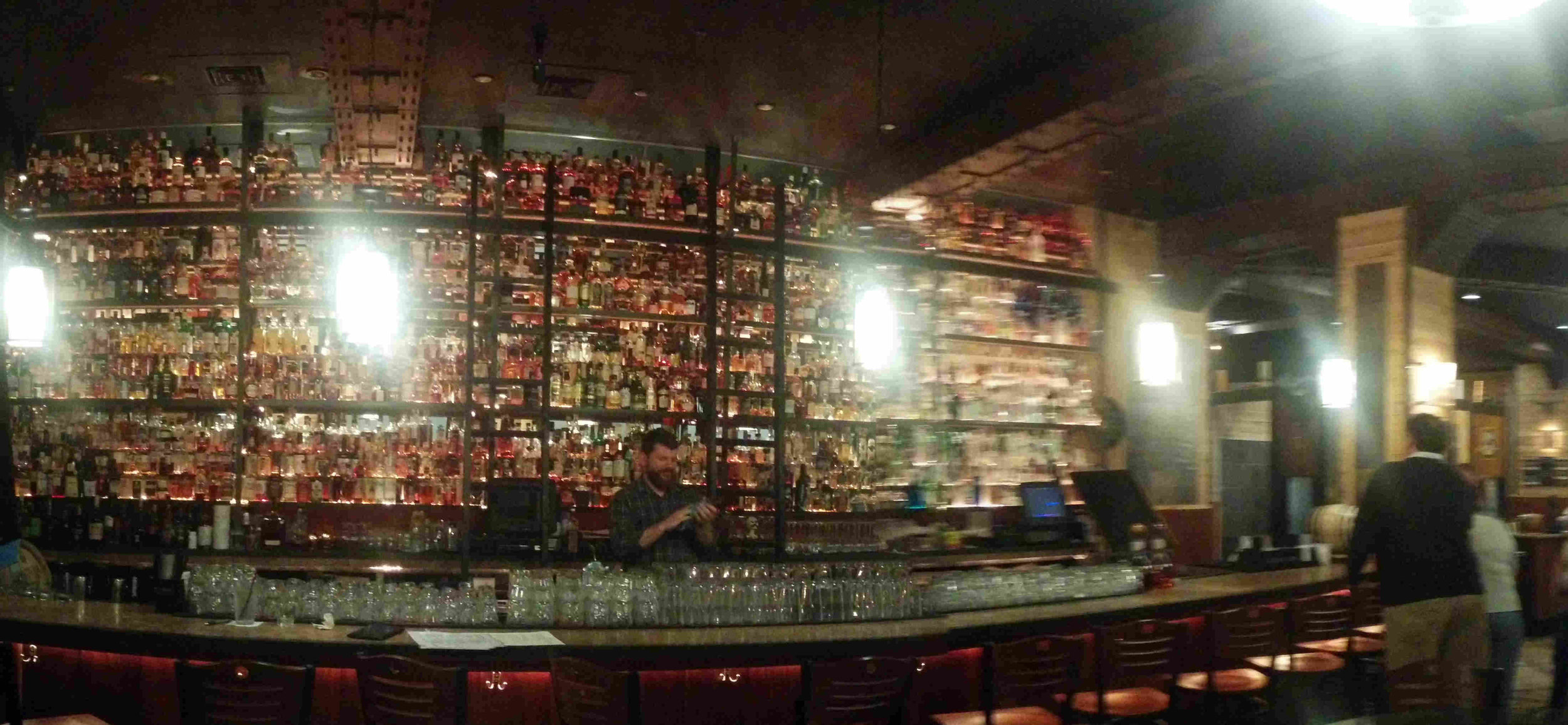 Whiskey library at McCormack's Big Whiskey Grill in Richmond. Yes I had to do a panoramic shot to fit it all in.