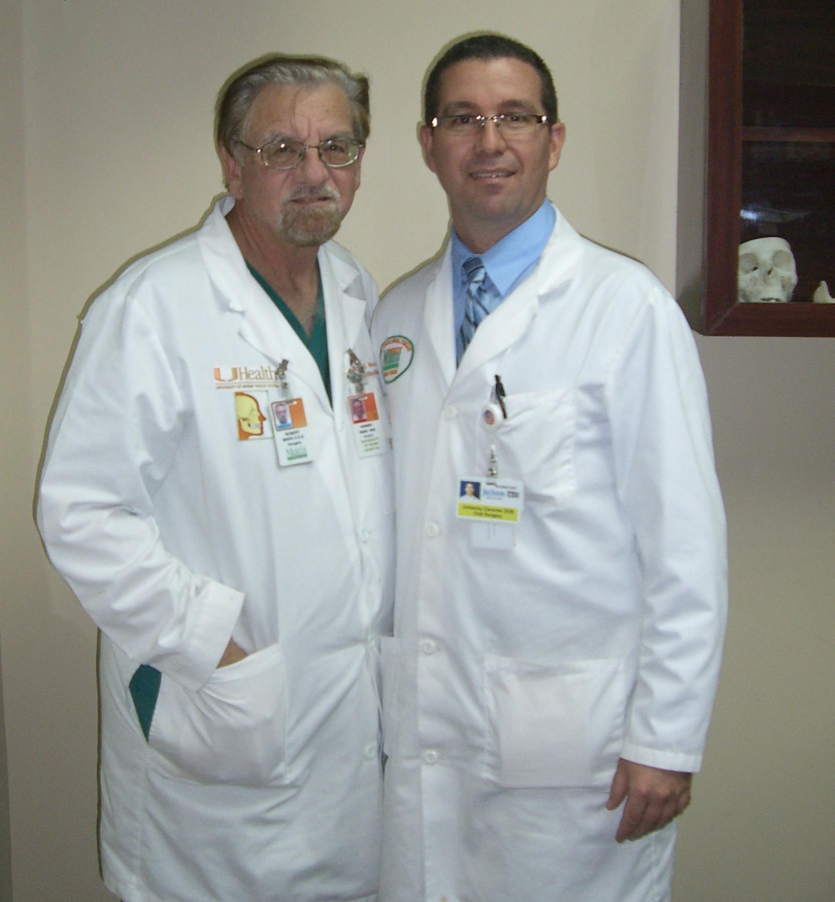Dr. Johanny Caceres with Professor Robert Marx at Jackson Memorial Hospital.