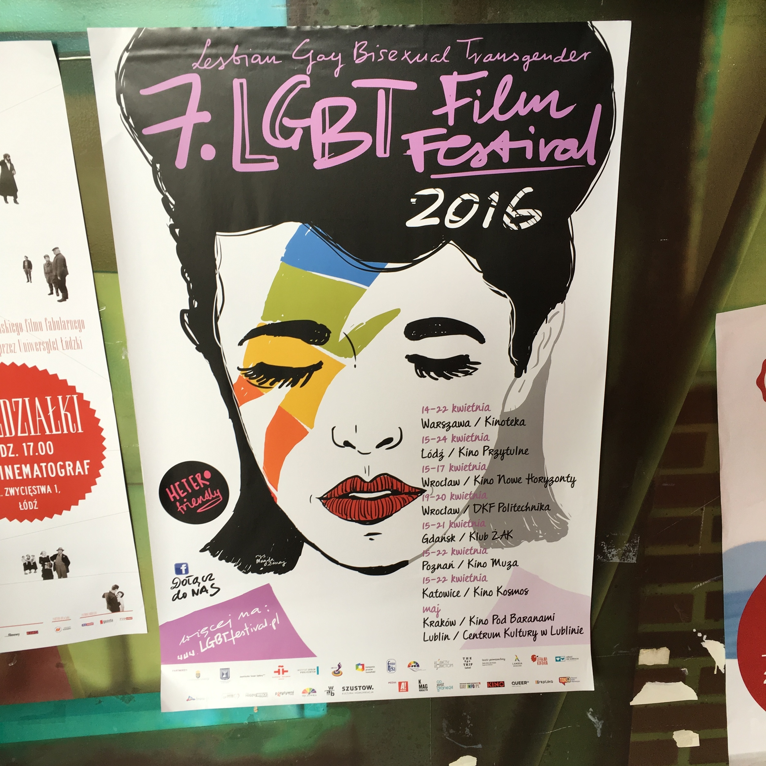 The LGBT Film Festival is held in cities across Poland. This particular flyer was posted in a town called Lodz, where I had the pleasure of celebrating gay pride. Pride pics to come, yo.