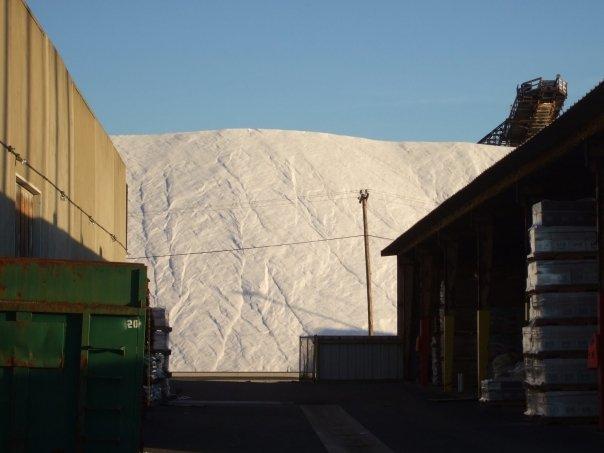 Salt hill at Morton Salt Factory in Newark, California