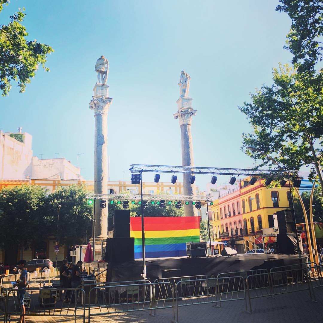 Pride preparations in the LGBTQ-friendly Alameda neighborhood in Seville, June 2016