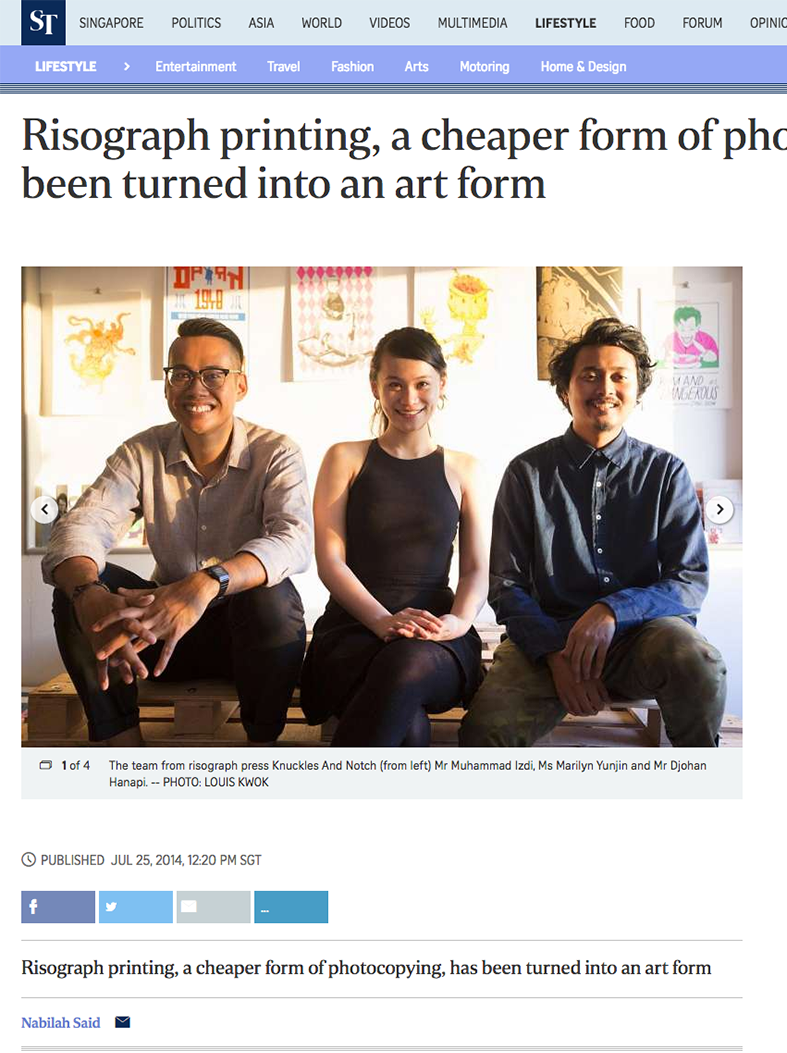'Risograph printing, a cheaper form of photocopying, has been turned into an art form' article published on 25 Jul 2014 by Nabilah Said, The Straits Times, Singapore.