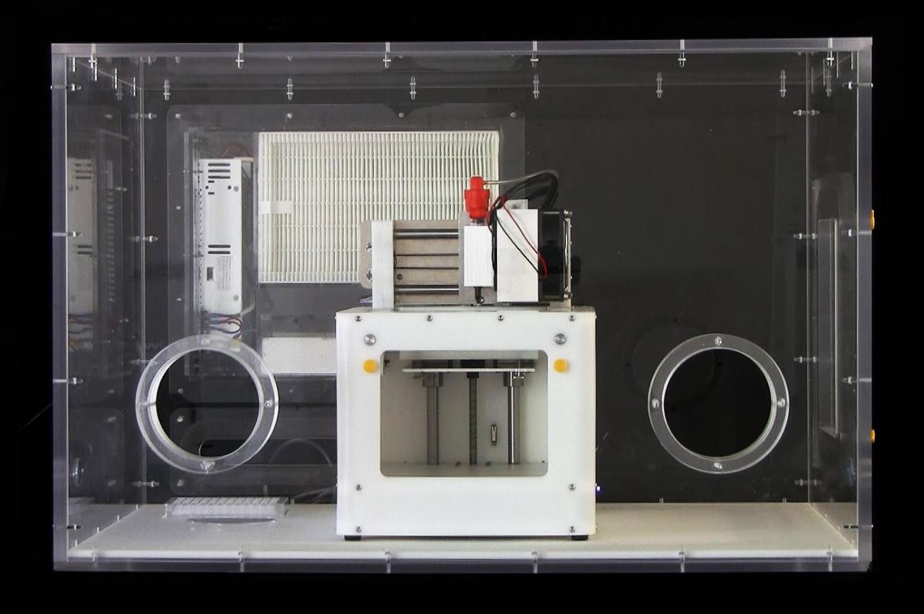Jimmi Bio Printer and positive pressure sterile glove box, equipped for liquid collagen printing