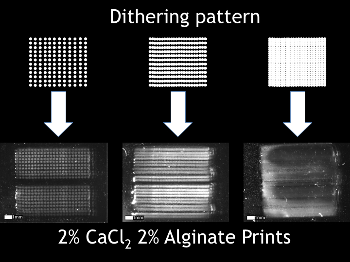 The dithering patterns applied to the 3D printing with Alginate