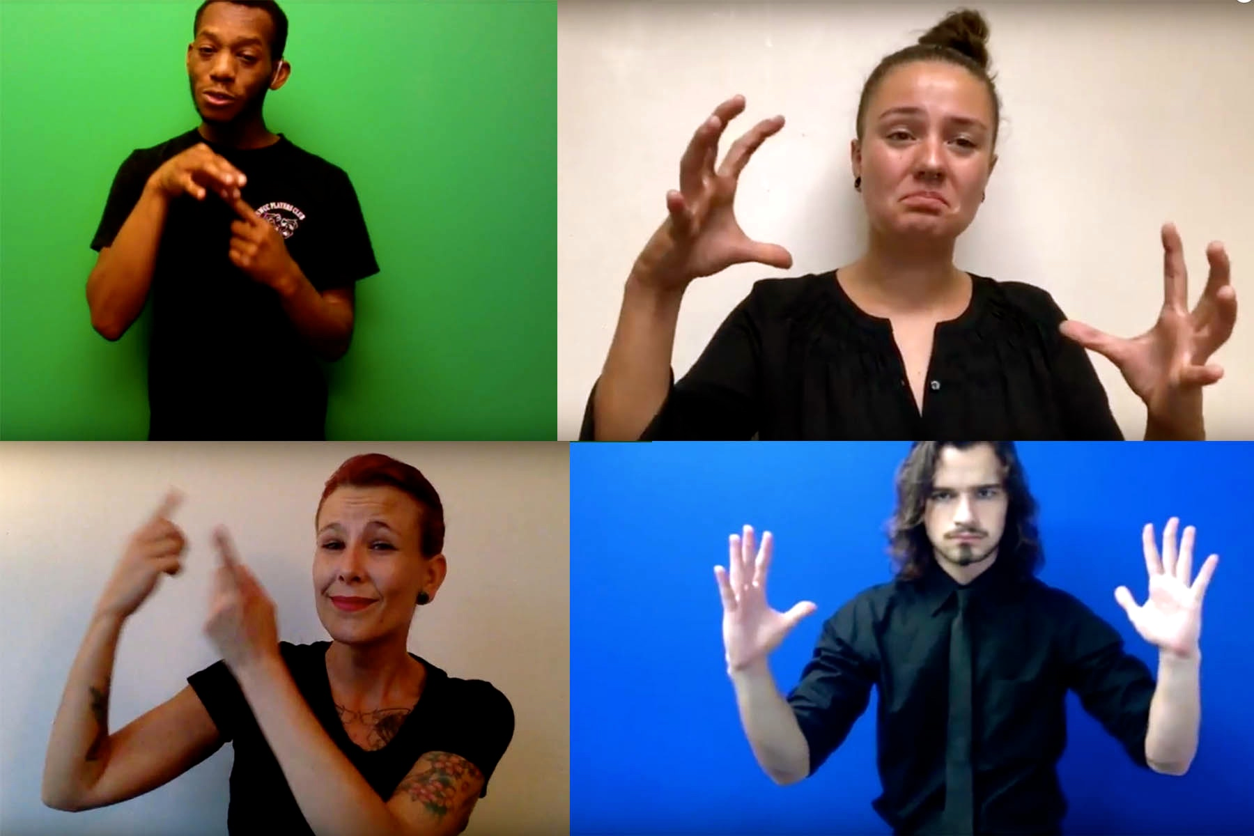 """Gallaudet University students above present their interpretations of The Universal Drum for Willy Conley's class, """"Sign Language Translation for the Stage."""""""