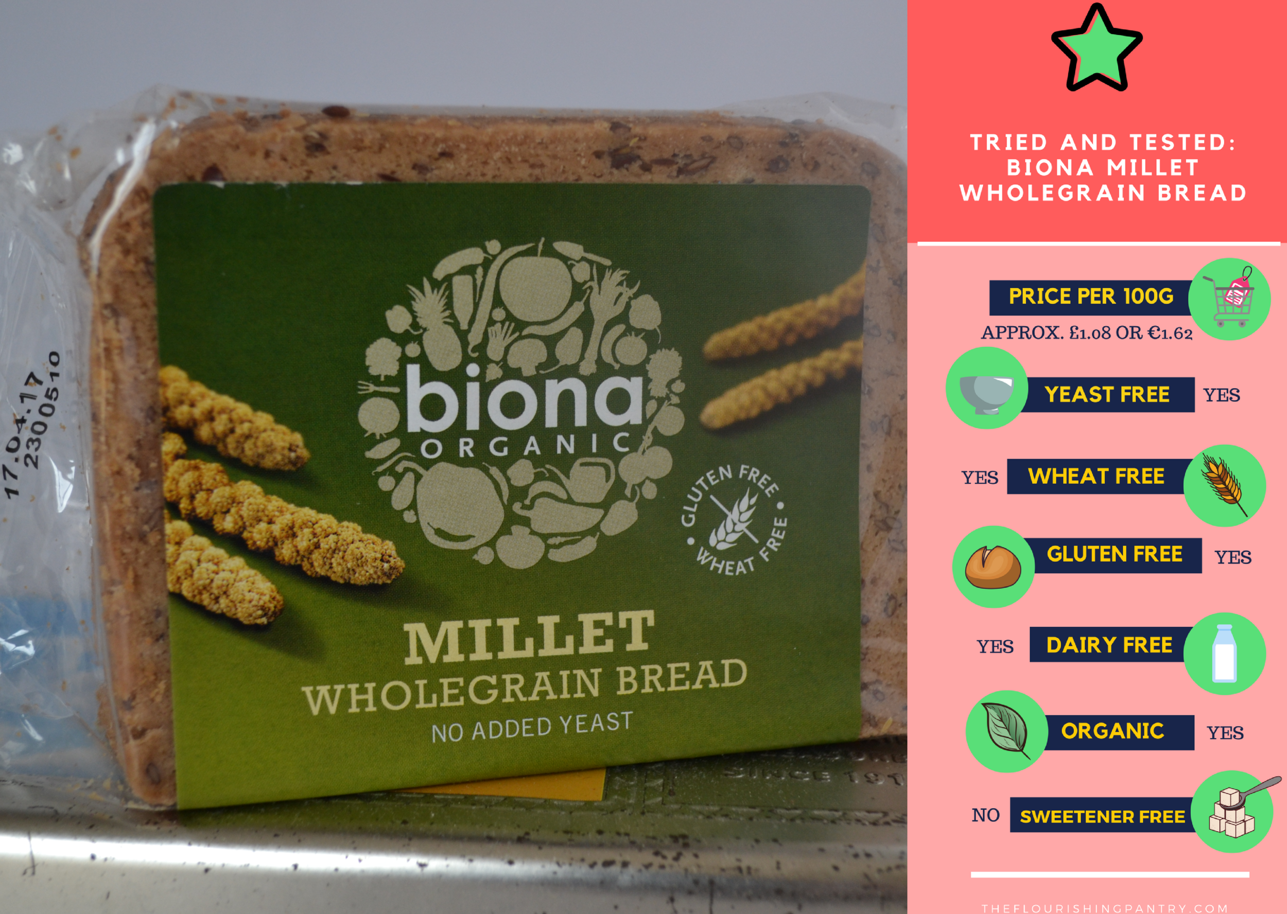 Biona Millet Bread review | The Flourishing Pantry | Yeast free diet blog
