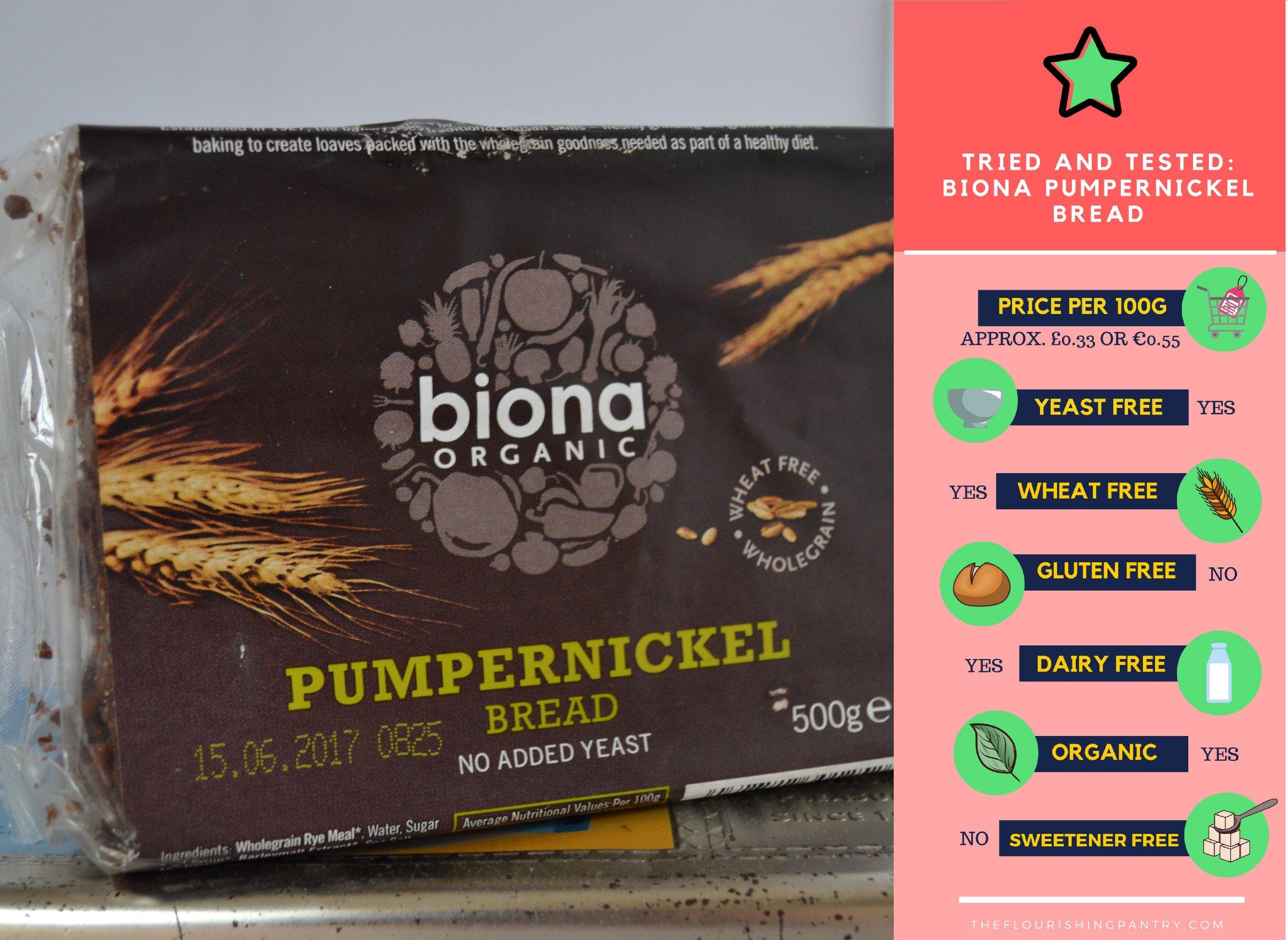 Biona Pumpernickel bread review | The Flourishing Pantry | yeast free diet blog