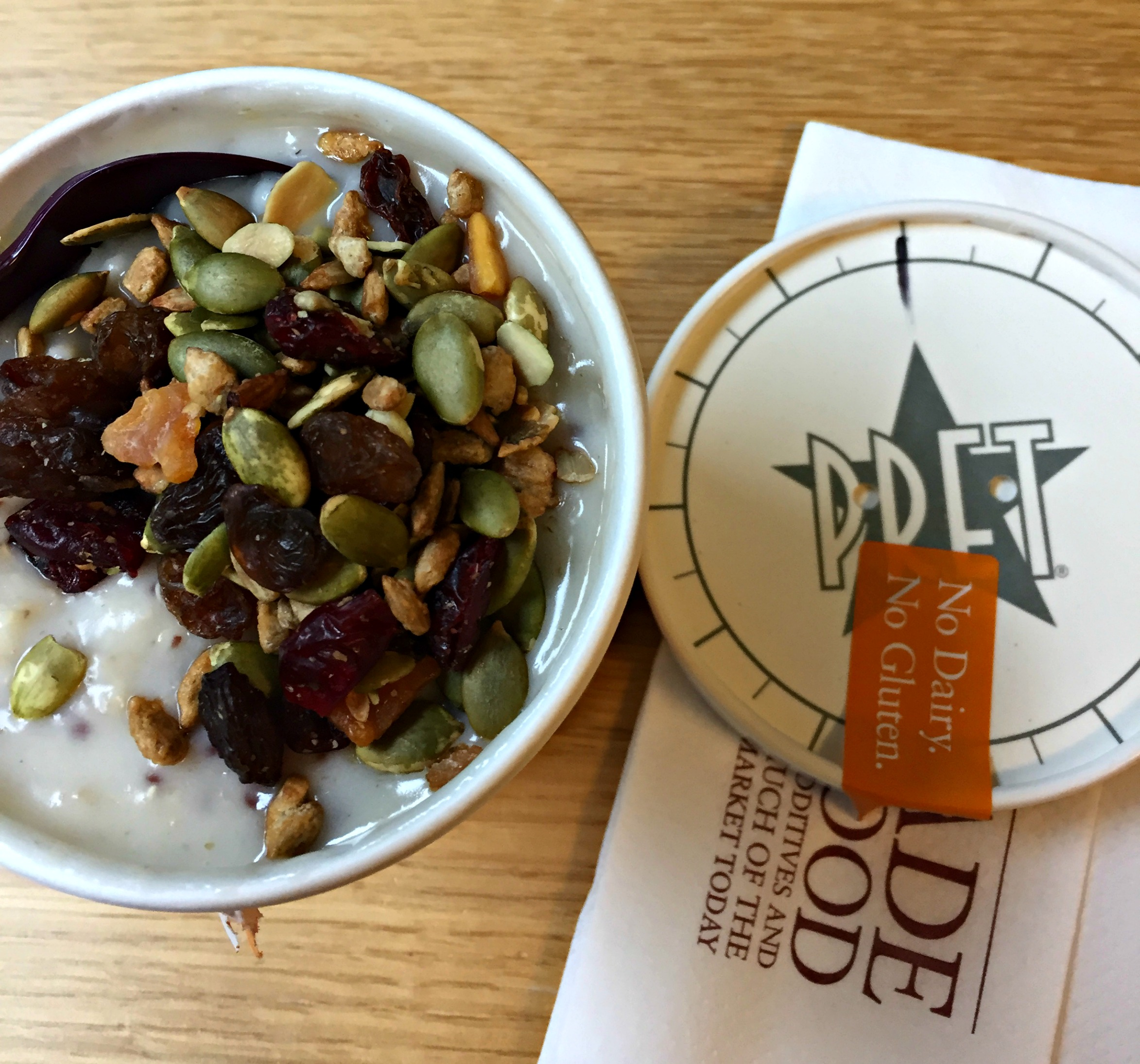 Breakfast: Pret coconut porridge