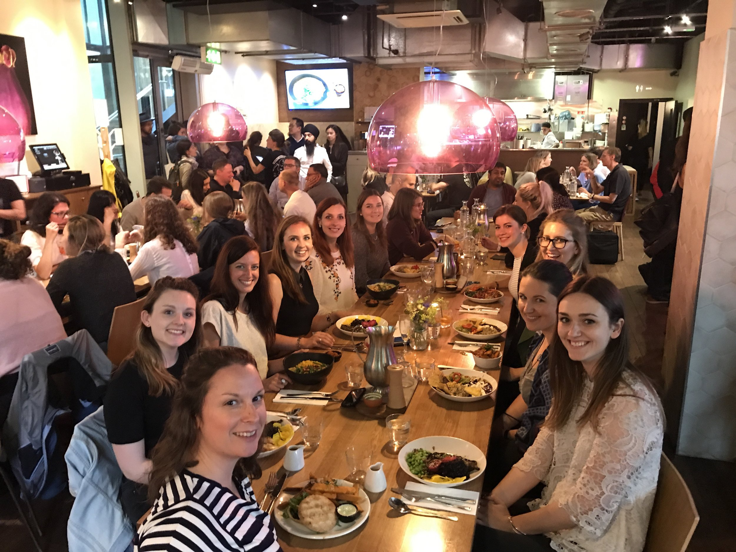 Me and Lea enjoying (gluten free) dinner at  Mildred's  with fellow foodie bloggers. Photo © Lucy of  Little Luxury Foods