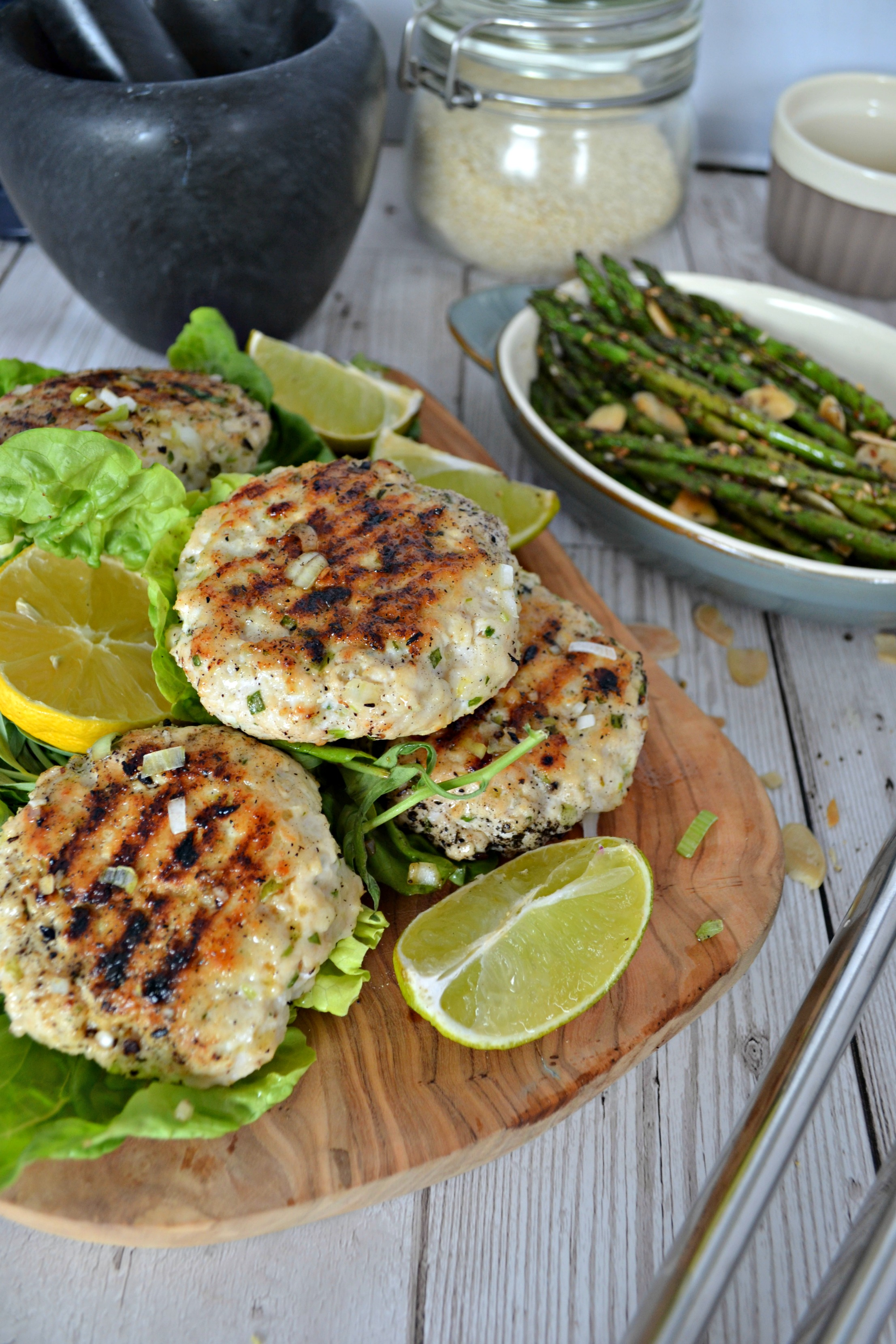 Chicken and tarragon burgers with sumac grilled asparagus | The Flourishing Pantry | healthy eating blog