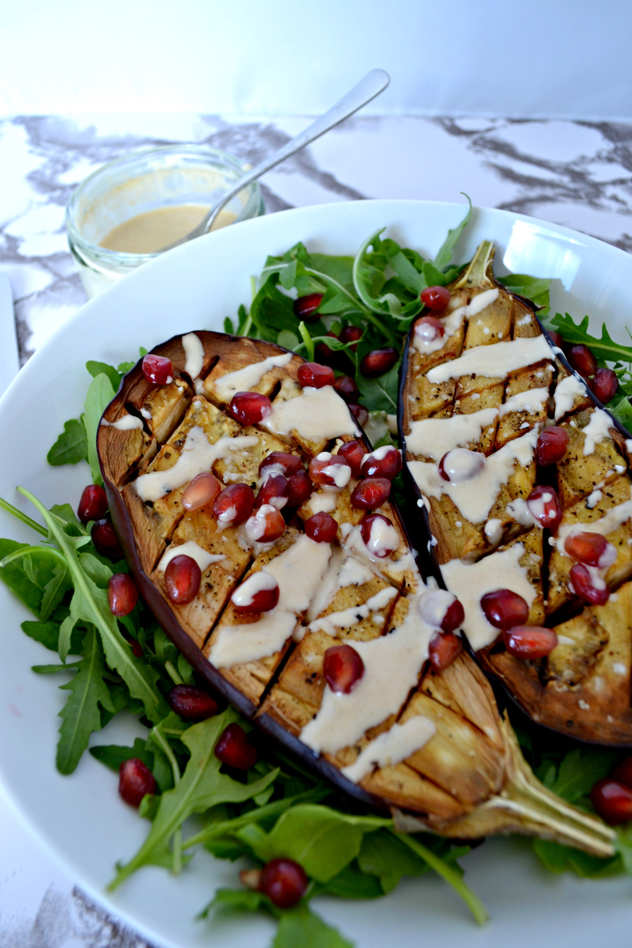 Baked aubergine and tahini dressing | The Flourishing Pantry | healthy recipe blog