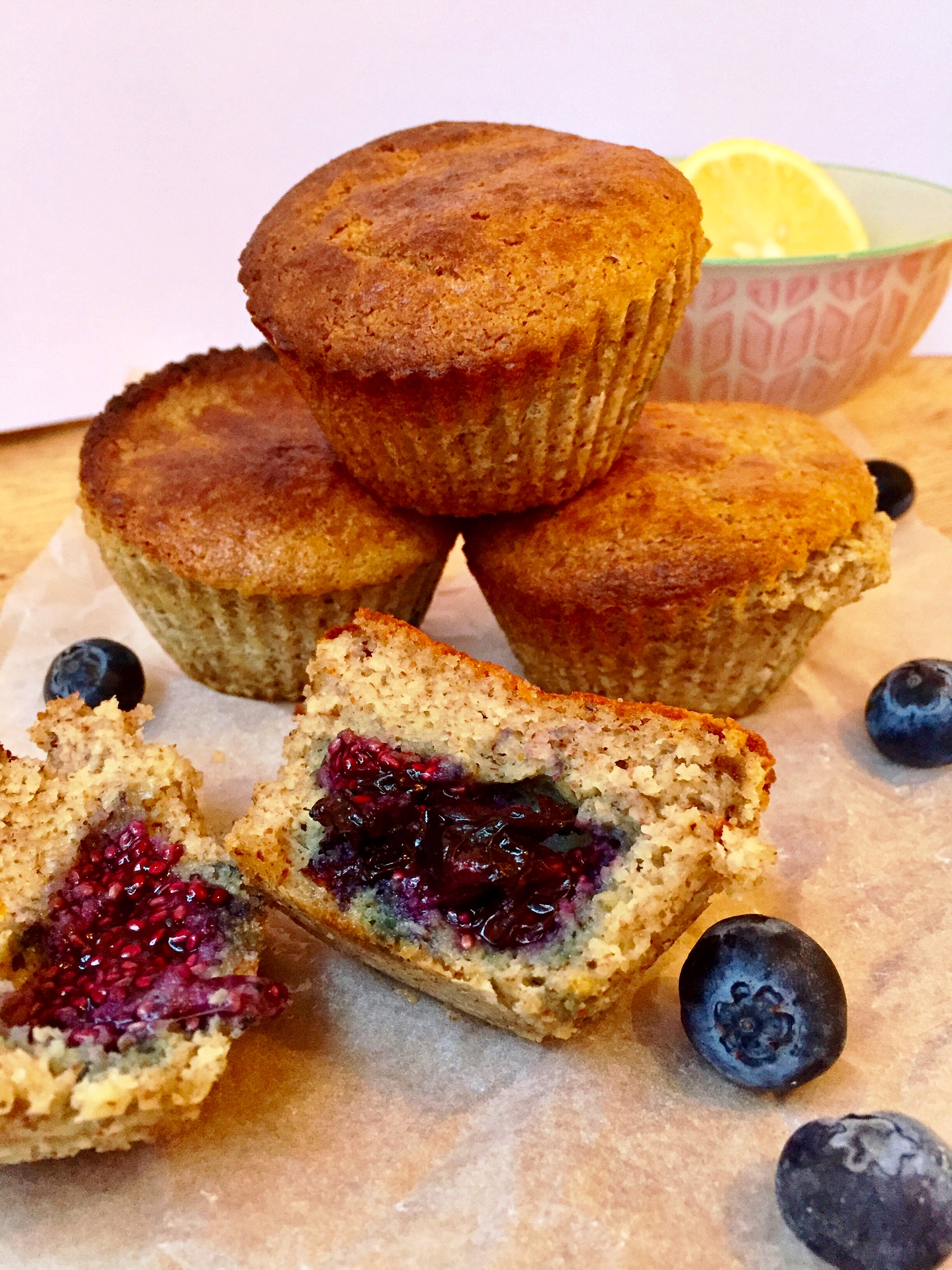 Blueberry and lemon muffins  from the blog. What do I do with a whole batch?!