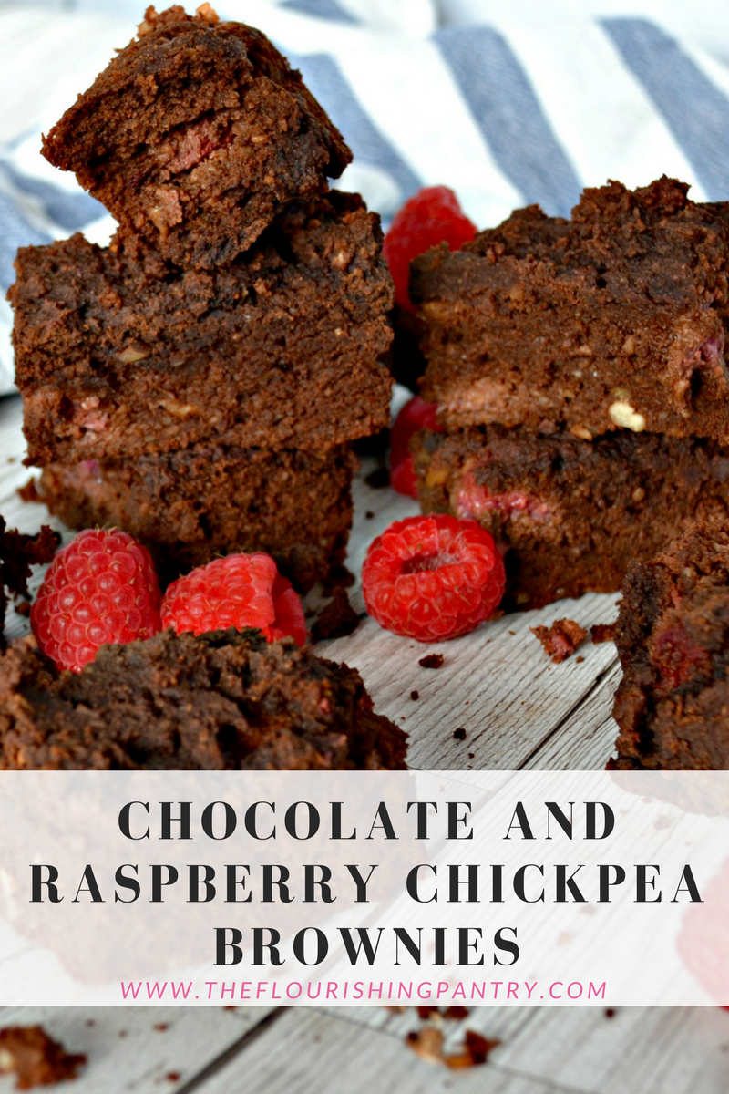 Chocolate raspberry chickpea brownies | The Flourishing Pantry | healthy eating recipe blog