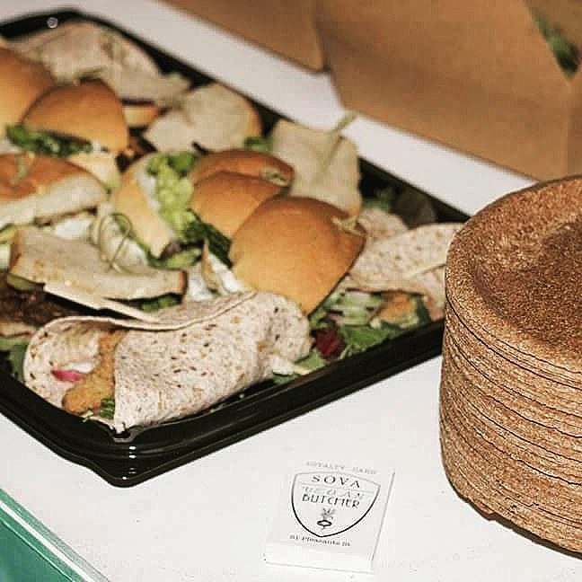 Scrumptious vegan meat sandwiches from Sova Vegan Butcher at a Yoga Sound System event