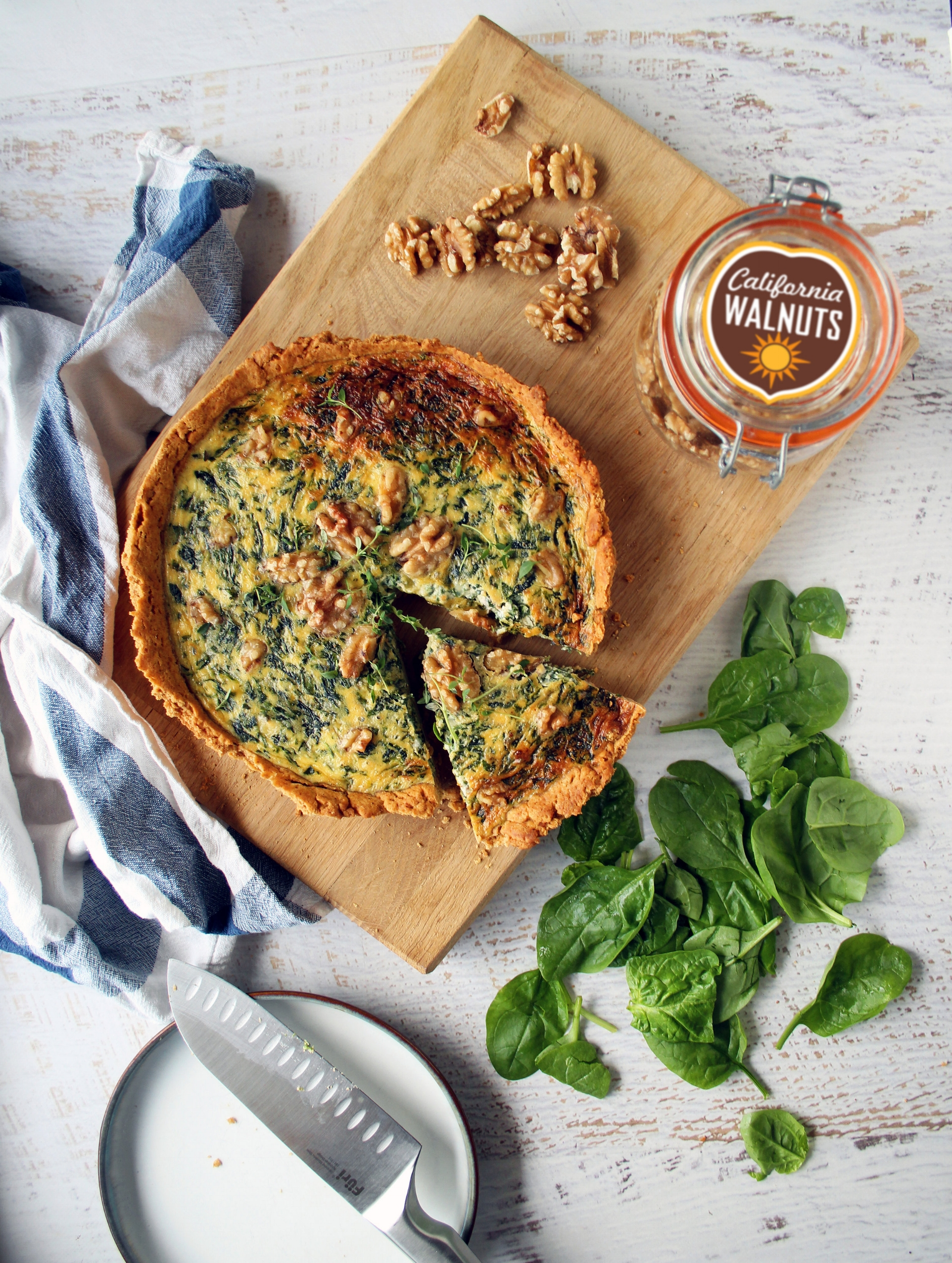 Stilton and spinach quiche with walnut pastry   The Flourishing Pantry